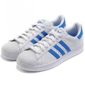shoes girl girly girly wishlist adidas adidas shoes adidas superstars adidas originals white sneakers blue and white low top sneakers