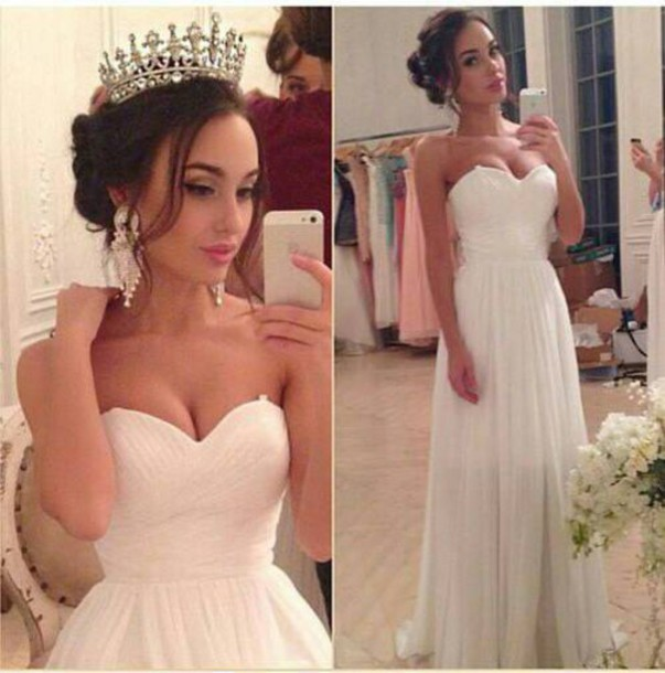 dress white dress long dress wedding dress wedding clothes wedding white