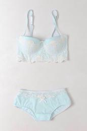 underwear,bridal lingerie,bra,panties,lingerie,mint,lace,bralette,white lace,bow,vintage,pretty,lovely,pale,eggshell,blue swimwear