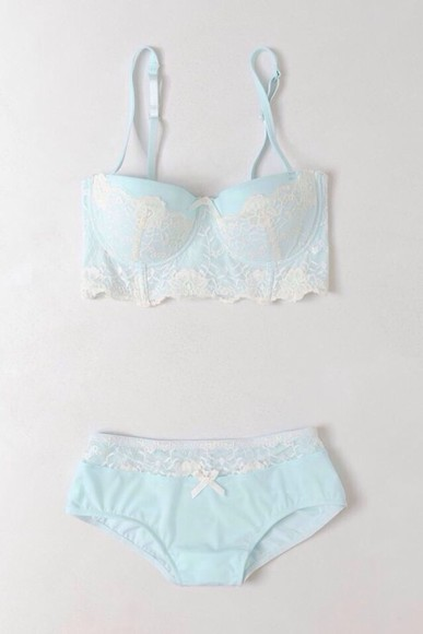 underwear vintage lovely pretty swimwear pale eggshell blue swimwear bra panties lingerie mint lace bralette white lace bow