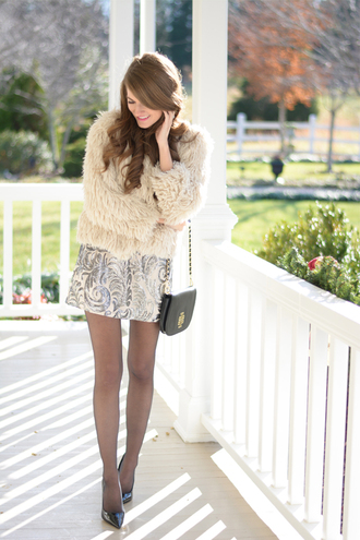 southern curls and pearls blogger dress jacquard fluffy bag shoes tights jewels jacket beige fur jacket
