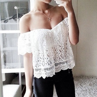 blouse white floral lace cute hot beautiful elegant white top white t-shirt white crop tops floral tank top floral shirt fashion style shirt lace top sleeveless top tank top off the shoulder
