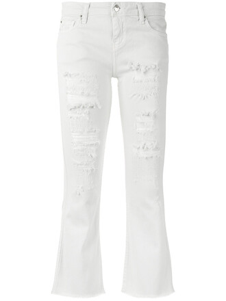 jeans cropped women spandex white cotton