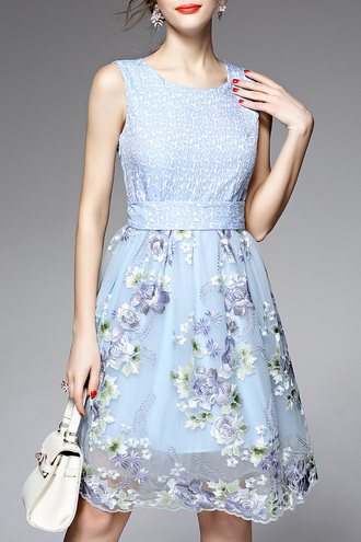 dress light blue floral fashion trendy beautiful style summer spring dezzal