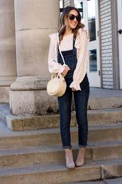 twenties girl style,blogger,top,shoes,sunglasses,bag,denim overalls,overalls,raffia bag,round bag,ankle boots,jumpsuit