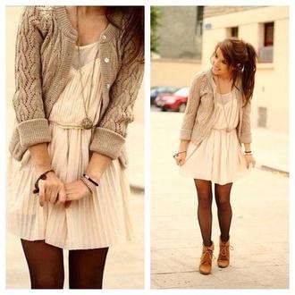 dress cream dress pretty dress