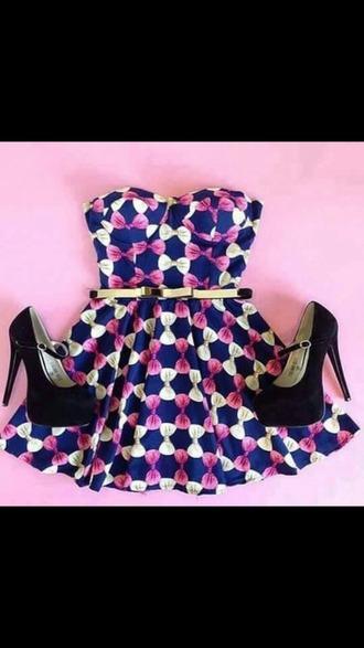 dress purple white strapless belt