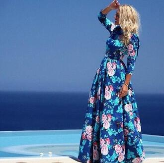 dress maxi dress floral blue boots elegant dress vintage long dress hippie summer dress summer tumblr girl festival festival dress flowers roses beautiful print prom dress summer outfits hipster bohemian