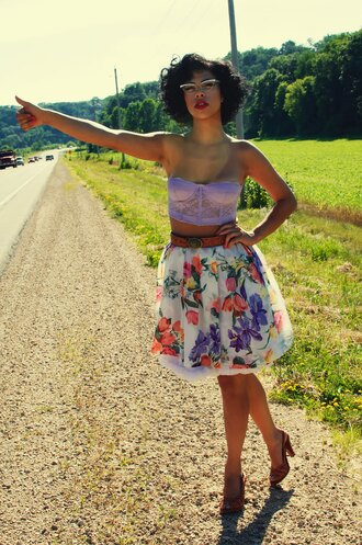 skirt floral skirt floral white flower skirt purple knee length skirt