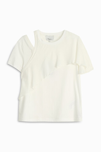t-shirt shirt ruffle white top