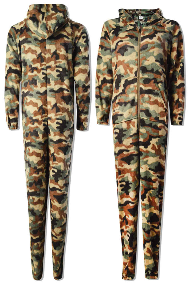 New ladies women camouflage print super soft fleece onesie costume jumpsuit army