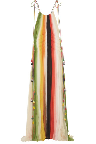 gown silk green orange dress