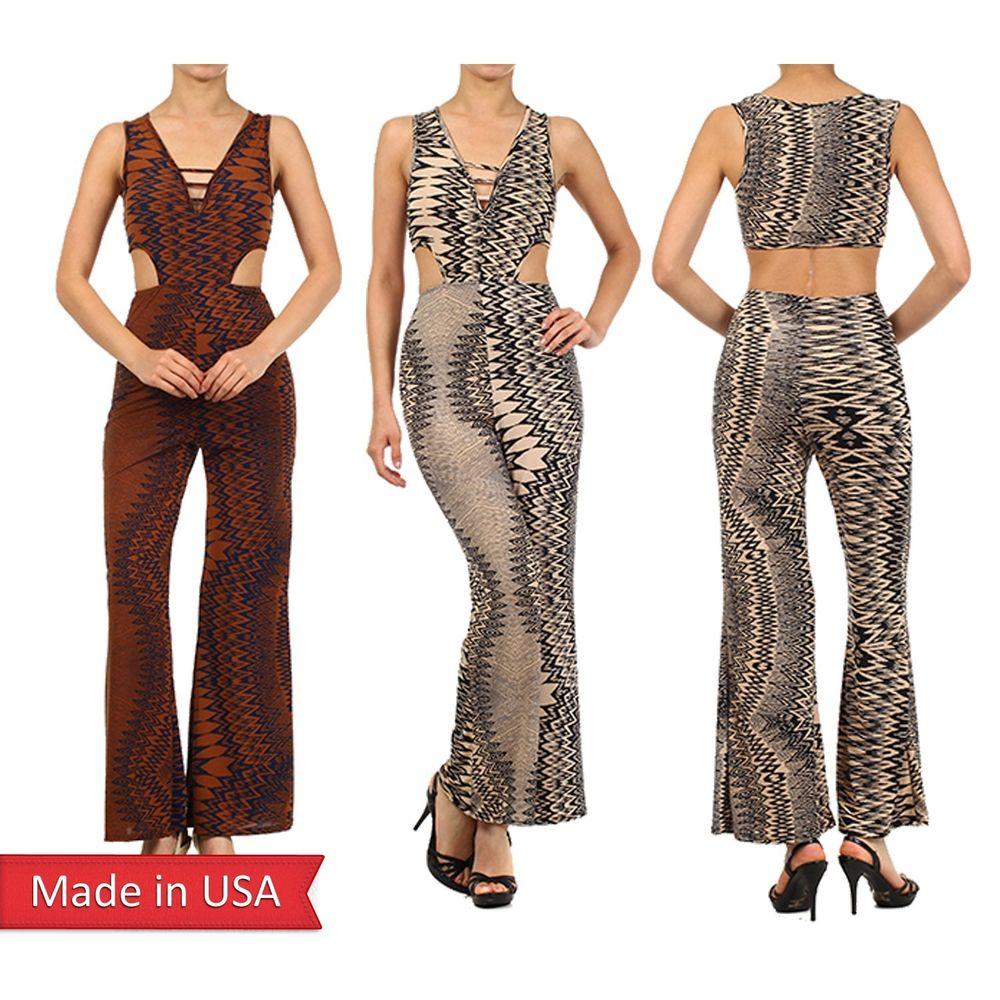 Chevron zigzag stripe print v neck palazzo wide leg pants jumpsuits romper usa