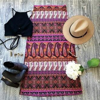skirt belle xo boho bohemian aztec tribal pattern design pattern print pink multi color maxi long slit fashion style cute