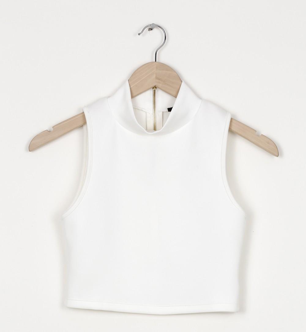 brassière cropped en néoprène blanc - tee shirt Jennyfer