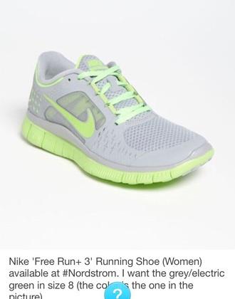 shoes grey green nike running shoe women's free run+ 3