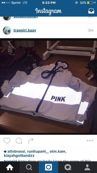 jacket windbreaker white whitejacket pink pink by victorias secret victoria's secret white windbreaker