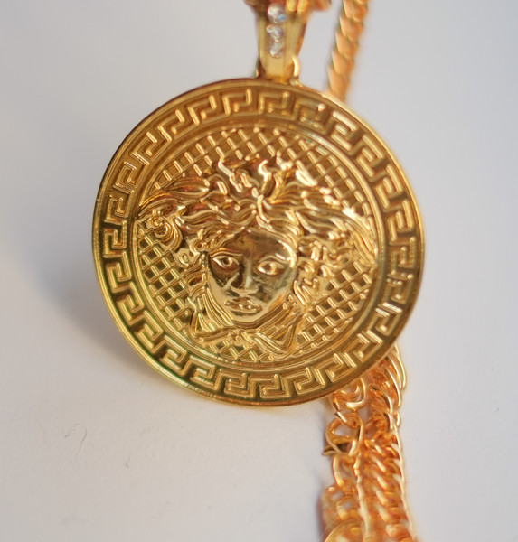 Versacesque medusa emblem coin necklace