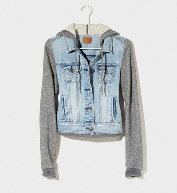jacket sweater denim jacket coat hoodie blue jean jacket american eagle outfitters denim leather leather jacket denim jacket jeans grey sweater sweet grunge cool girl girly girl denim jacket