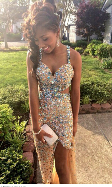 dress sequin prom dress jewels prom dress mutlicolor diamonds