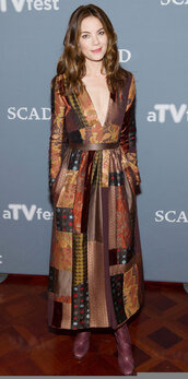 dress,brown,brown dress,midi dress,fall dress,michelle monaghan,plunge dress