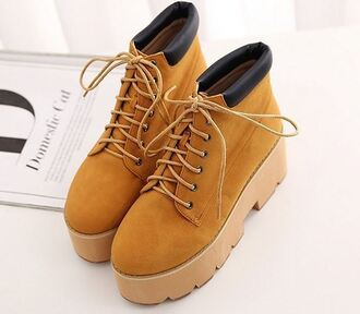 shoes lace up fashion trendy footwear huge platform timber boots fall outfits platform shoes cool it girl shop
