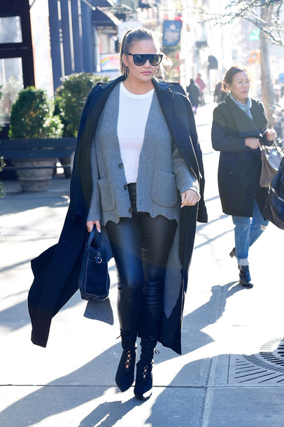 cardigan sweater chrissy teigen pants coat streetstyle winter outfits shoes