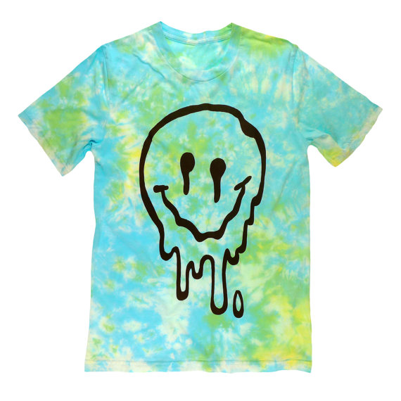Sick & melted smiley face tie dye tshirt by killercondoapparel