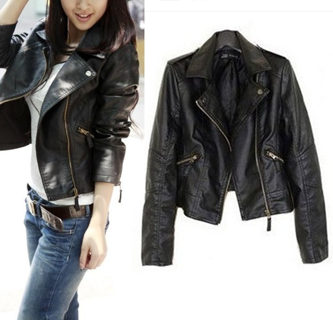 Womens Slim Biker Motorcycle PU Soft Leather Zipper Jacket Coat ...