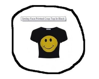 shirt crop tops smiley printed crop top help plz