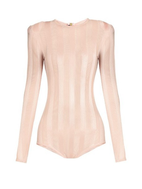 955699bf5c BALMAIN Striped mesh-knit bodysuit in pink - Wheretoget