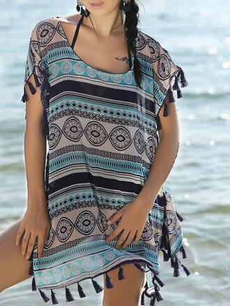 dress cover up blue pattern style fringes boho zaful tunic