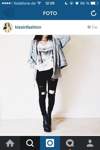 jacket black grunge white shirt idk jeans