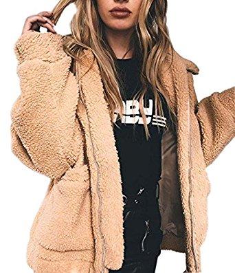 Amazon.com: Womens Warm Fuzzy Sherpa Fleece Zip up Jacket Casual Oversized Outwear Coat: Clothing