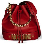 bag,red,chain,chain bag,moschino bag,gold,purse,red bag,bucket bag,moschino