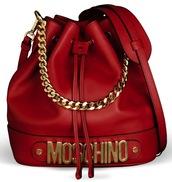 bag,red,chain,chain bag,moschino bag,gold,purse,red bag,bucket bag,moschino