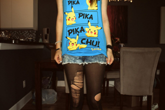 t-shirt top pikachu blue tank top shirt pokemon yellow pika black anime