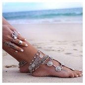 jewels,jewelry,bracelets,ring,girly,anklet,boho,pretty,lovely,beach,silver jewelry,summer accessories