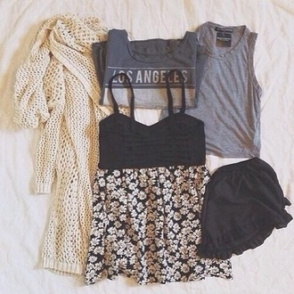 top crop tops black crop top floral skirt cardigan knitted cardigan outfit grunge girly girly outfits tumblr tumblr tumblr outfit