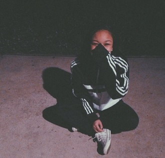 jacket stripes striped shirt black white pullover sportswear wolftyla converse jeans jewels red coat outfit