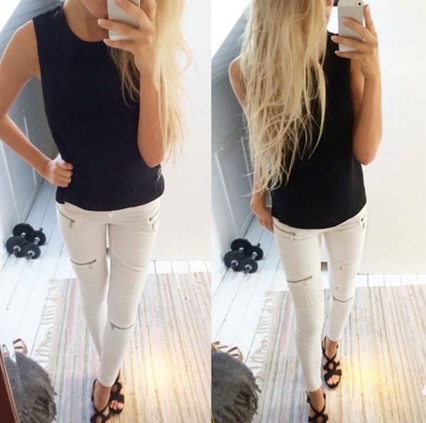pants jeans white leggings shoes shirt heels