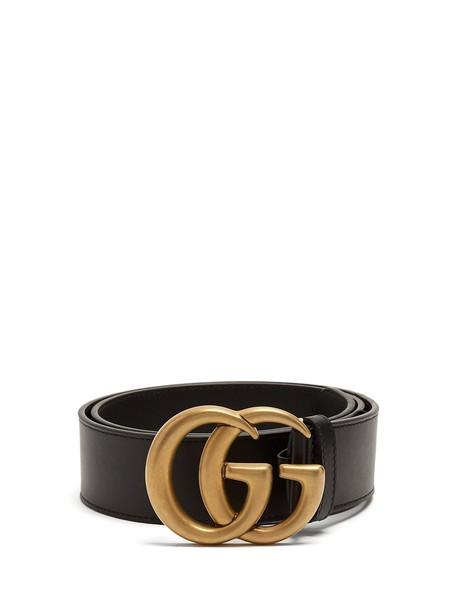 GUCCI GG-logo 4cm leather belt in black
