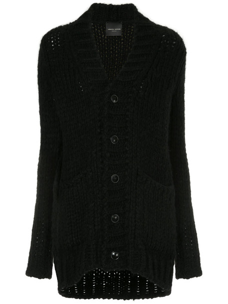 Roberto Collina - chunky knit buttoned cardigan - women - Nylon/Alpaca/Merino - M, Black, Nylon/Alpaca/Merino