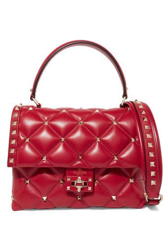 quilted bag shoulder bag leather red