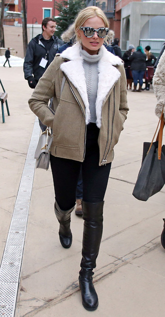 knee high boots margot robbie bag jacket sweater shoes