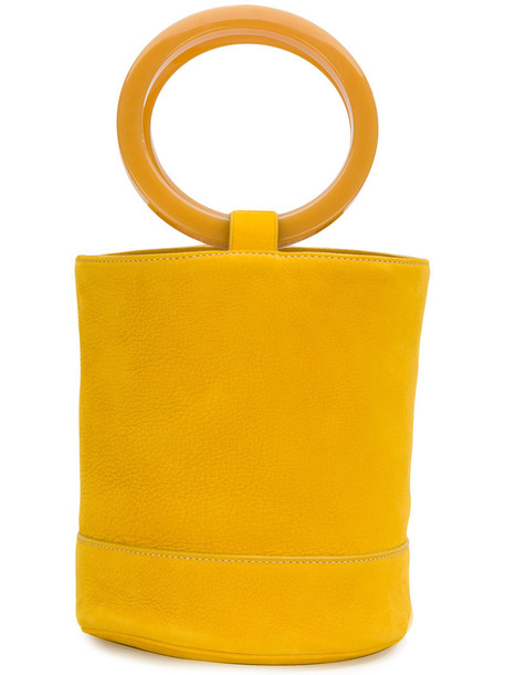 Simon Miller - round bucket tote - women - Leather/Acetate - One Size, Yellow/Orange, Leather/Acetate