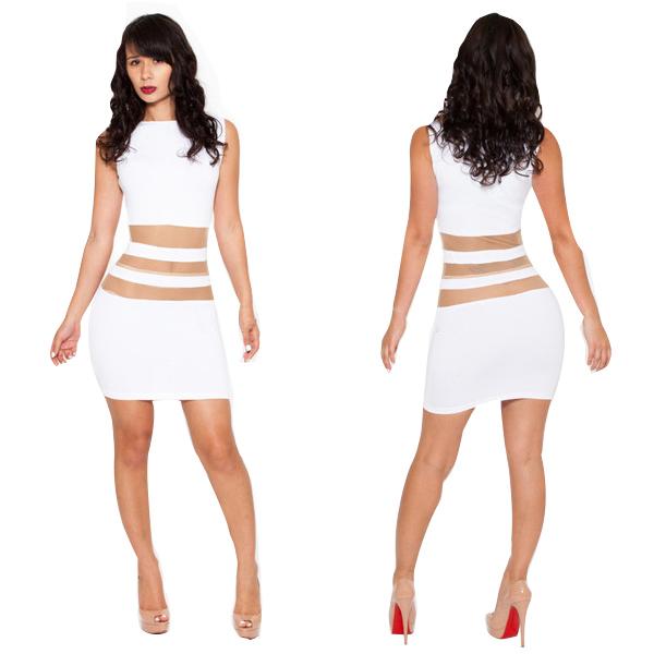 2014 Ladies New Fashion White Transparent Lace Tulle Mini Bandage Dress Sexy Sleeveless Hollow Out Slim Pencil Dress KM107 | Amazing Shoes UK