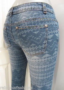 Super Skinny Slim Fit Womans Aztec Tribal Blue Denim Jeans | eBay