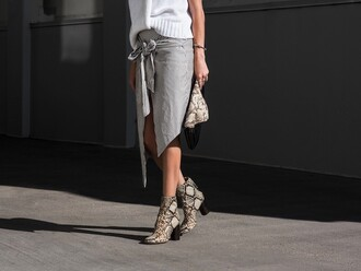 shoes white sweater grey wrap skirt snake print ankle boots blogger