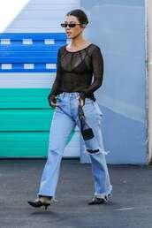 shoes,see through,blouse,sweater,kourtney kardashian,kardashians,mules,jeans